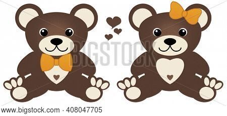 Twins, Boyfriend, Girlfriend, Brother, Sister, Friends, matching boy girl teddy bears with bowtie and hairbow and hearts Illustration isolated on white background.