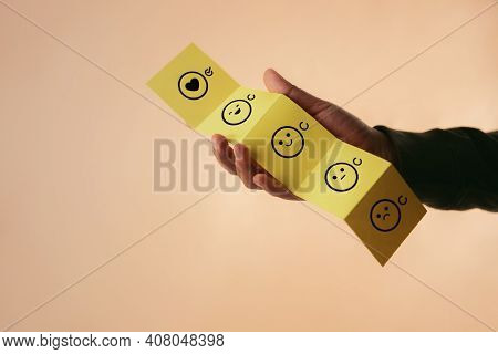 Customer Experience Concept. Happy Client Giving Positive Review On Fold Paper. Feedback Icon From P