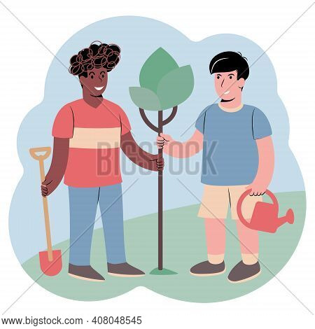 Two Guys Planting A Tree Together. Concept For Starting Something New Together Or Cooperating To Gro