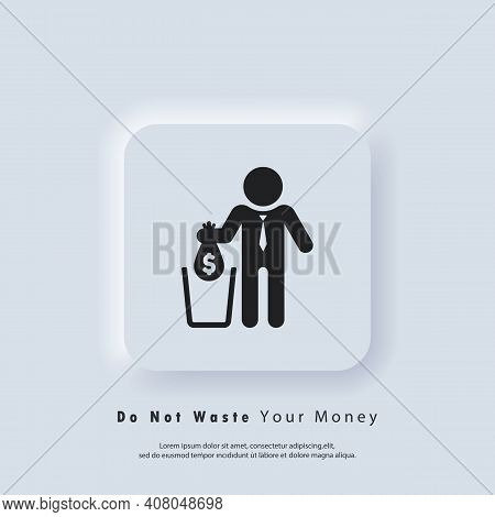 Financial Losses Icon. Falling Bag With Dollar In Trash. Big Expenses, Money Deduction, Maintenance