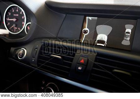 Grodno, Belarus - June 2020: Bmw X3 Ii F25 Xdrive Premium Car Interior Backup Parking Assistant Syst