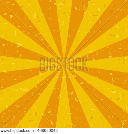 Sunlight Retro Grunge Background. Yellow And Orange Color Burst Background. Vector Illustration. Sun