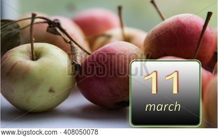 March 11 ,11th Day Of The Month. Apples - Vitamins You Need Every Day. Spring Month. Day Of The Year