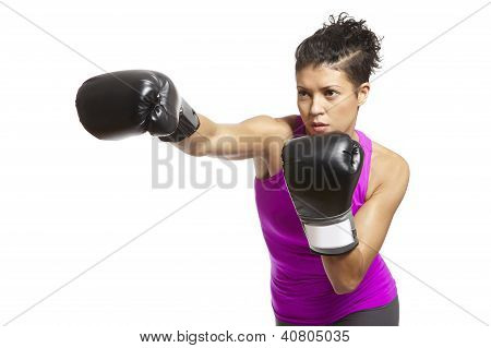 Young Woman Boxing In Sports Outfit