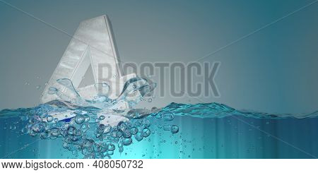 Number 4 In Thick Letters Seen From The Front Sinking Into The Water Splashing With Drops Producing