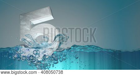 Number 5 In Thick Letters Seen From The Front Sinking Into The Water Splashing With Drops Producing