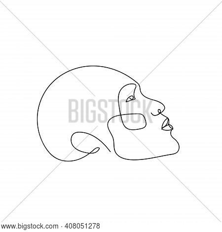 Continuous Line Abstract Face, Side View. Contemporary Minimalist Portrait. Hand Drawn Line Art Of H