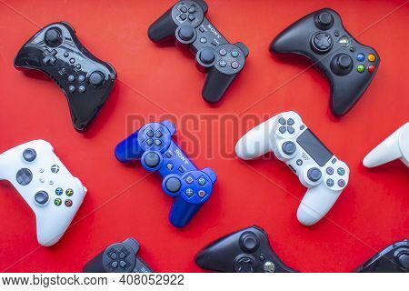 Calgary, Alberta, Canada. Feb 13, 2021. Several Video Game Control Remote From The Most Popular Game