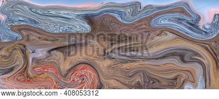 Marble Stone Texture Abstract Background Grunge Ink In Water. Fake Painted Artificial, Marbled Surfa