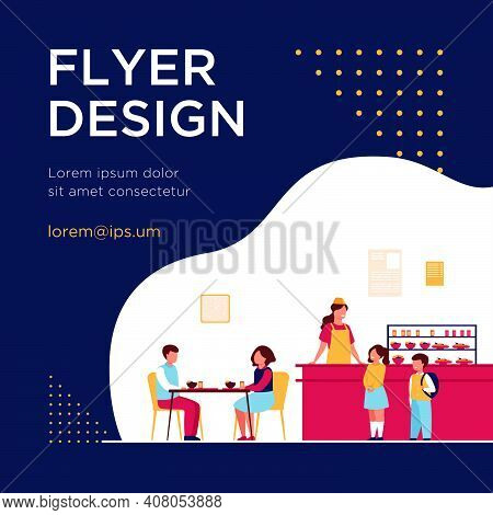 Lunch In School Cafeteria Concept. Teen Boys And Girls Eating In School Canteen Or Cafe, Standing At