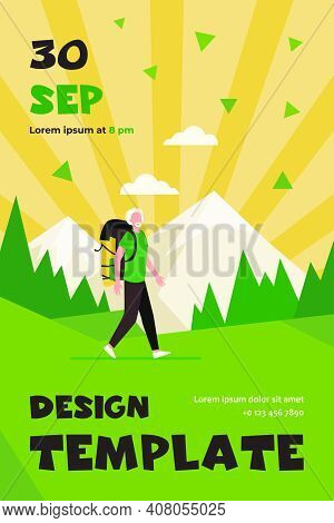 Senior Man Trekking In Mountains. Grey Haired Male Tourist With Backpack Flat Vector Illustration. O