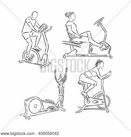 Man Training On Exercise Bike Vector Sketch Icon Isolated On Background. Hand Drawn Man Training On