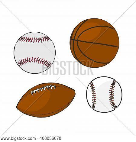 Vector Sketch Illustration - Sport Balls: Basketball, Rugby, Baseball, Sports Balls, Rugby, Baseball