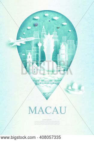 Travel Macau Architecture Monument Pin In Asia With Ancient And City Modern Building Business Travel