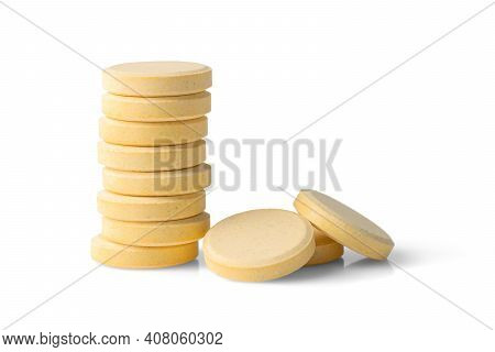 Effervescent Soluble Tablets Isolated On White Background