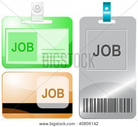 Job. Id cards. Raster illustration.