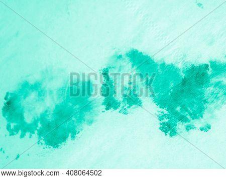 Paint Aquarel Spots Texture. Neo Mint Ink Oil Print. Paintbrush Surface. Paint Water Background. Ink