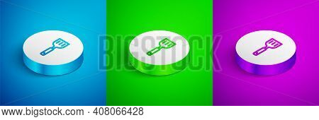 Isometric Line Spatula Icon Isolated On Blue, Green And Purple Background. Kitchen Spatula Icon. Bbq