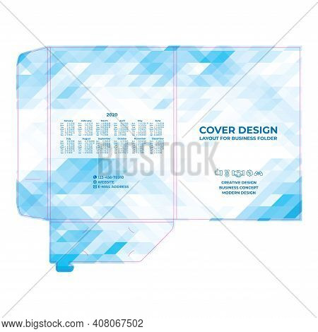 Folder Design, Cover For Catalogue, Brochures, Layout For Placement Of Photos And Text, Modern Geome