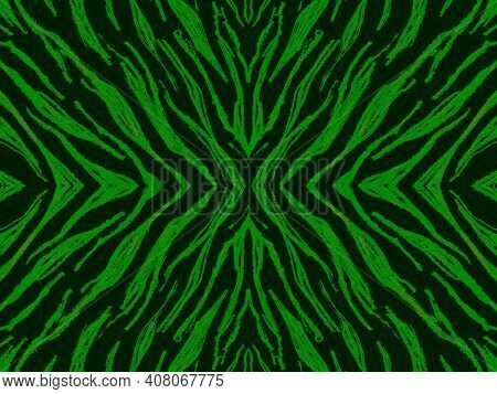 Seamless Ethnic Banner. Fashion Tribal Textile Design. Watercolor African Background. Green Tiger Fu