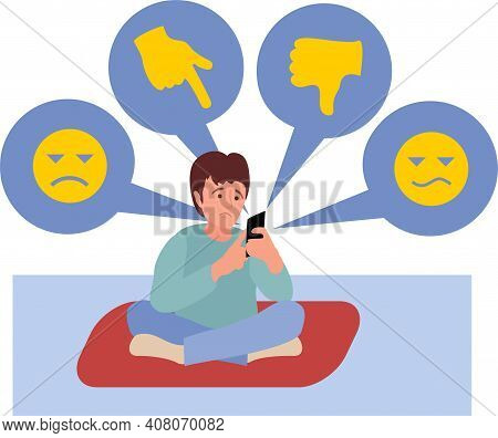 Teenagers Psychological Problems. Cyber Bullying In Social Networks And Online Abuse Concept. Cyber
