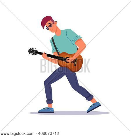 Man Playing Guitar, Guitarist And String Instrument Isolated Flat Cartoon Person. Guy With Stringed