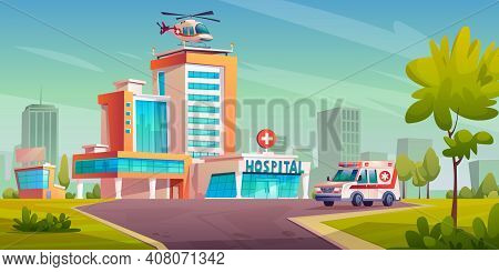 Hospital Building With Ambulance Van, Helicopter On Roof, Cityscape With Trees And Skyscrapers. Mode