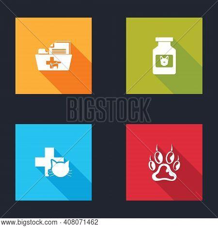 Set Medical Veterinary Record Folder, Dog Medicine Bottle, Veterinary Clinic And Paw Print Icon. Vec