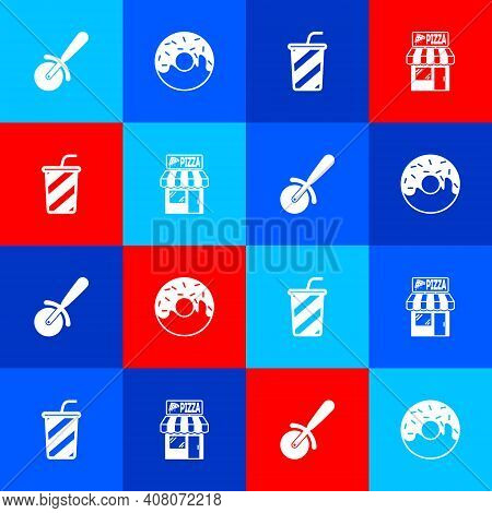 Set Pizza Knife, Donut, Glass With Water And Pizzeria Building Facade Icon. Vector