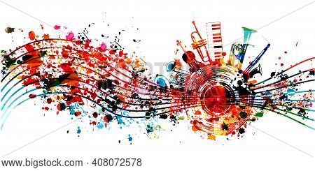 Colorful Jazz Music Promotional Poster With Musical Instruments And Notes Isolated Vector Illustrati