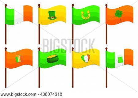 Irish Holiday St Patrick Day, Big Set From Flags On Stick. Pattern St Patrick Day Consisting Of Many