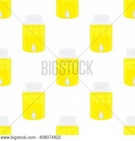 Illustration On Theme Big Colored Lemonade In Lemon Jug For Natural Drink. Lemonade Pattern Consisti