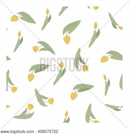 Seamless Vector Pattern With Spring Yellow Flowers And Buds. Tulips. Suitable For Fabric, Textile, P