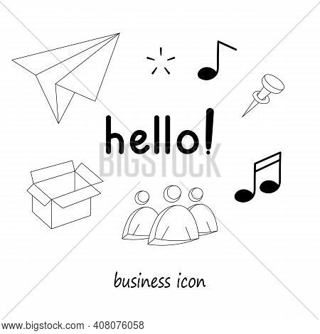 Business Element Icons In Doodle Style, Infographic Set. Isolated Vector Illustration Design. Hand D