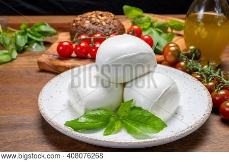 Cheese Collection, White Balls Of Soft Italian Cheese Mozzarella, Served With Red Cherry Tomatoes, F