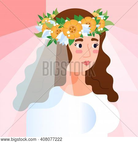 Vector Geometric Contemporary Portrait Of Beautiful Woman. Bride In Veil And Flower Wreath Avatar. Y
