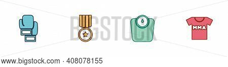 Set Boxing Glove, Medal, Bathroom Scales And T-shirt With Fight Club Mma Icon. Vector
