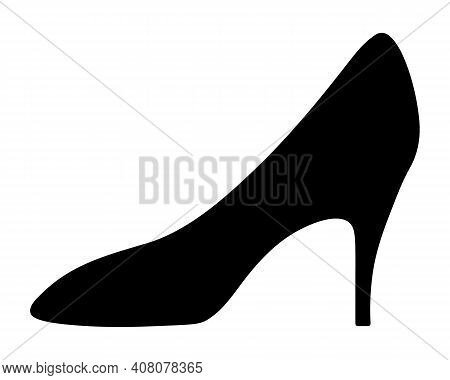 Shoe. Silhouette. Womens Shoes With Heels. Vector Illustration. Outline On An Isolated Background. V