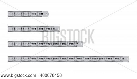 Metal Rulers Measuring Tool Set Isolated On White Background. 15, 20, 30, 50 Centimeters Rulers. Mea