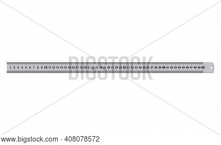 Metal Rulers Measuring Tool 50 Centimeters Isolated On White Background. Measure Cm Meter Instrument