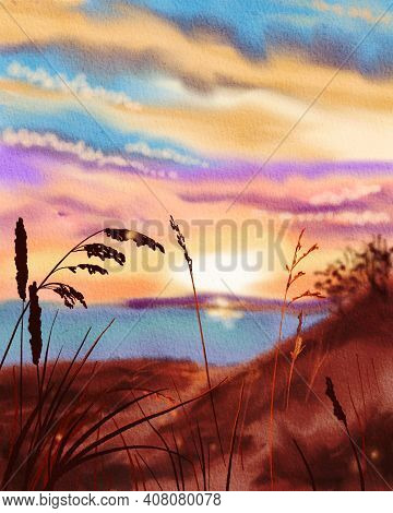 Colorful Sunset At The Sea Coast. Silhouettes Of Grass And Picturesque Clouds. Hand Drawn Watercolor
