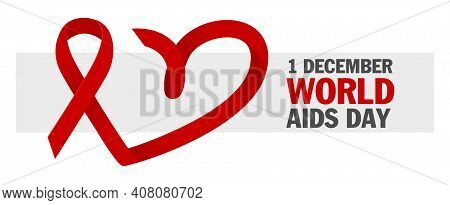 Hiv Test. World Aids Day 1 December, Red Ribbon. Aids And Hiv Awareness. Clinical Laboratory Blood T