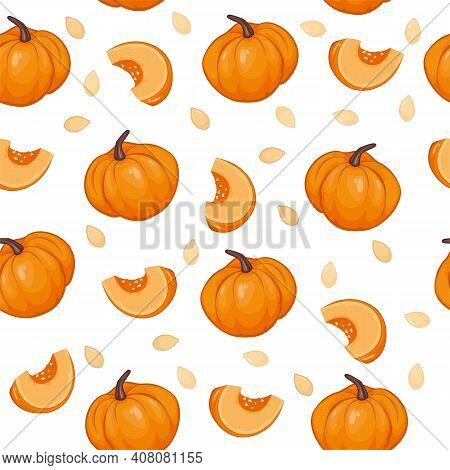 Pumpkin, Pumpkin Slice, Pumpkin Seeds And Pumpkin Pattern
