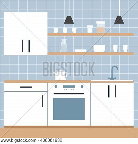 The Interior White Kitchen Minimalist Scandinavian Style. Shelves With Plates, Carafe Of Water, Mugs