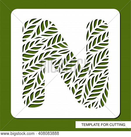 Stencil With The Letter N Made From Leaves. Eco Sign, Icon, Logo For Organic, Natural Products. Plan