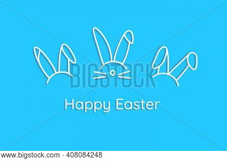 Happy Easter. Blue Card In Minimalist Style With Ears Of Funny Bunny Rabbits. Hare Heads Icons With