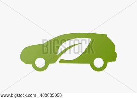 Eco Friendly Car Icon Icon. Environmentally Friendly And Eco Transport Symbol. Isolated Vector Image