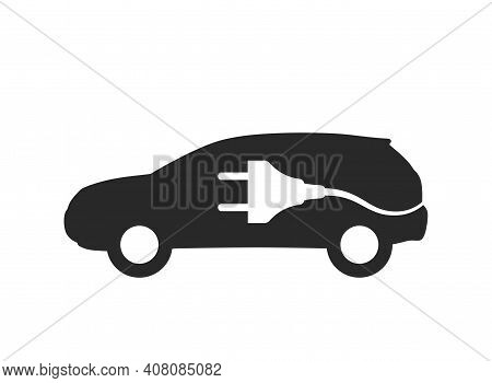 Electric Car Icon. Environment And Eco Transport Symbol. Car And Electric Plug. Isolated Vector Imag
