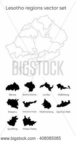 Lesotho Map With Shapes Of Regions. Blank Vector Map Of The Country With Regions. Borders Of The Cou
