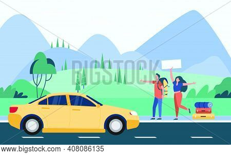 Happy Couple Of Tourists With Backpacks And Camping Stuff Hitchhiking On Road And Thumbing Yellow Ca
